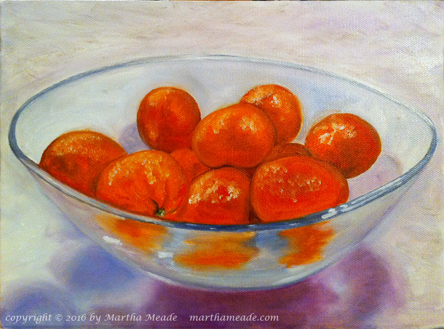 Bowl of Tangerines<br/>9 x 12 x 1<br/>oil on canvas