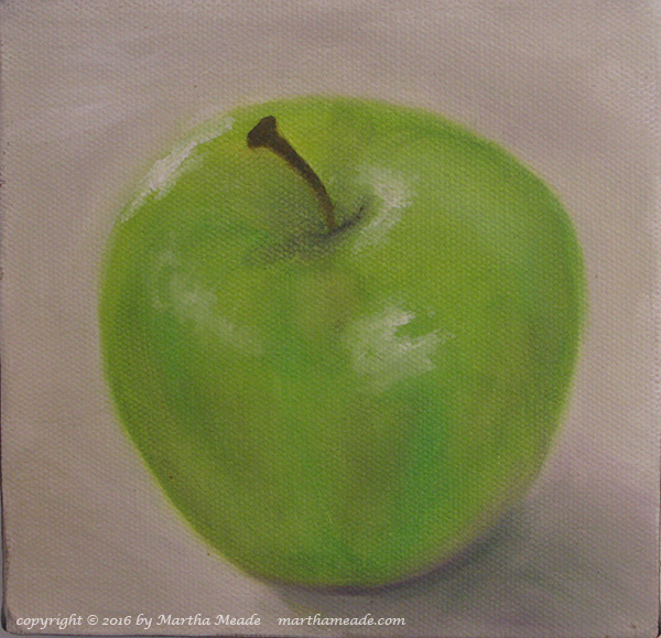 Granny Smith<br/>6 x 6 x 0.5<br/>oil on canvas