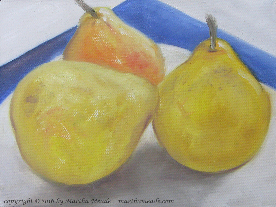 Three Pears<br/>6 x 8 x 0.75<br/>oil on canvas