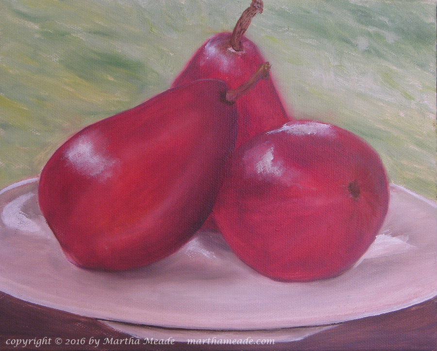 Red Pears in the Sunset<br/>8 x 10 x 0.75<br/>oil on canvas