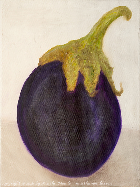 Right Leaning Eggplant<br/>8 x 6 x 0.75<br/>oil on canvas