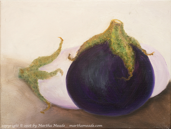 Two Eggplants #2<br/>6 x 8 x 0.75<br/>oil on canvas