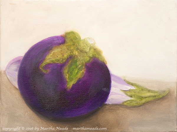 Two Eggplants<br/>6 x 8 x 0.75<br/>oil on canvas