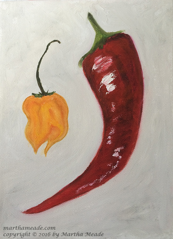 Hot Stuff - Red - Ext.<br/>8 x 6 x 0.75<br/>oil on canvas