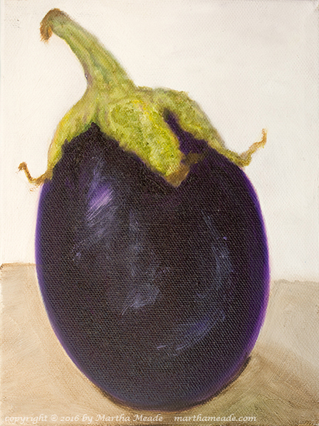 Left Leaning Eggplant<br/>8 x 6 x 0.75<br/>oil on canvas